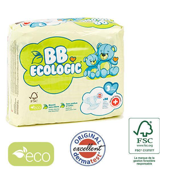 BB Ecologic - Lot 8x30 Couches jetables écologiques Midi - T3, 4-9kg