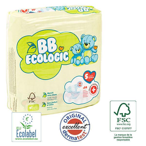 BB Ecologic - Pack 4x24 Couches jetables écologiques Midi - T5, 12+-25