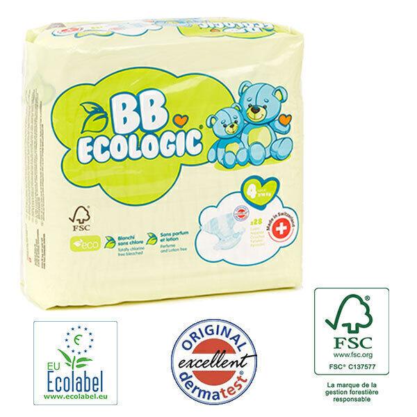 BB Ecologic - Pack 4x28 Couches jetables écologiques Maxi - T4, 7-18kg