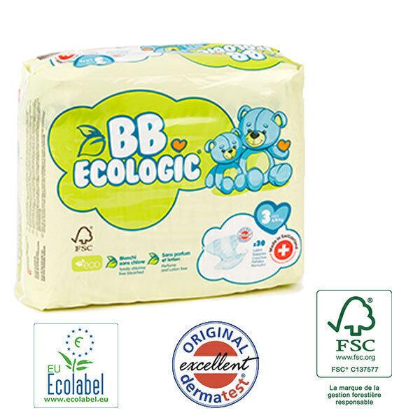 BB Ecologic - Pack 4x30 Couches jetables écologiques Midi - T3, 4-9kg