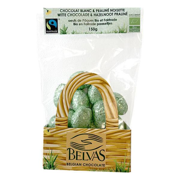 Belvas - Oeufs de Pâques Chocolat blanc praliné noisette bio - 150 g