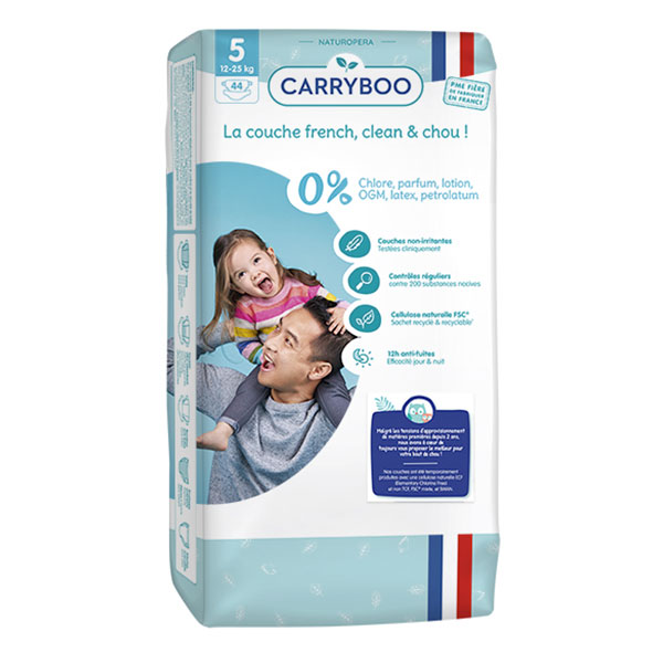 Carryboo - 44 Couches T5 (12-25kg) Dermo-Sensitives à Motifs