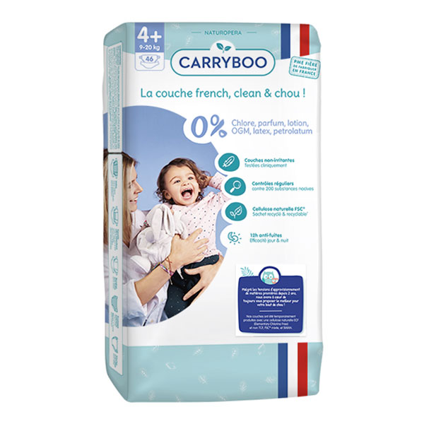Carryboo - 46 Couches T4+ (9-20kg) Dermo-Sensitives à Motifs