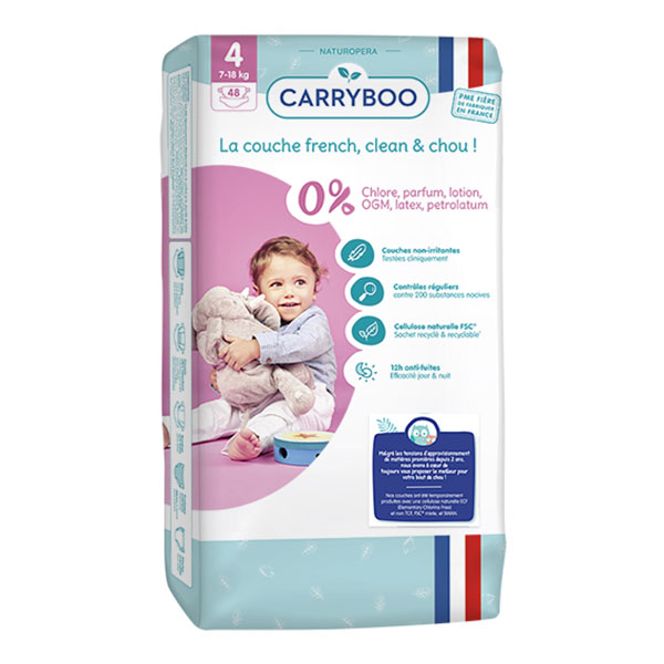 Carryboo - 48 Couches T4 (7-18kg) Dermo-Sensitives à Motifs