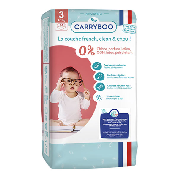 Carryboo - 54 Couches T3 (4-9kg) Dermo-Sensitives à Motifs