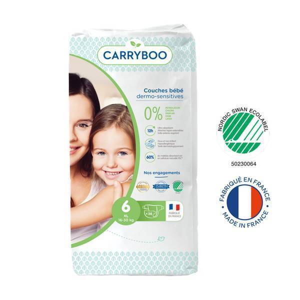 Carryboo - Lot Jumbo 6x36 Couches écologiques - Taille 6- 16-30kg