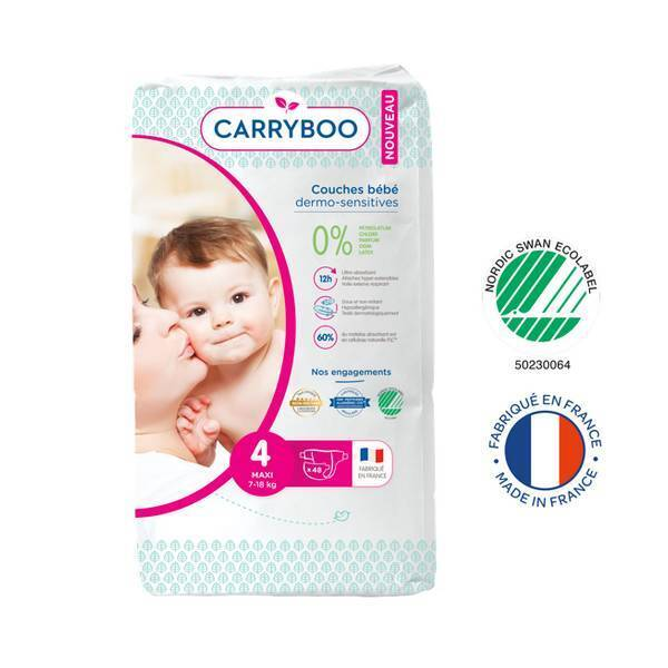 Carryboo - Lot Jumbo 6x48 Couches écologiques - Taille 4 - 7-18kg
