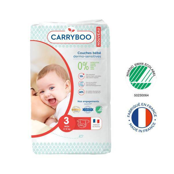 Carryboo - Lot Jumbo 6x54 Couches écologiques - Taille 3 - 4-9kg