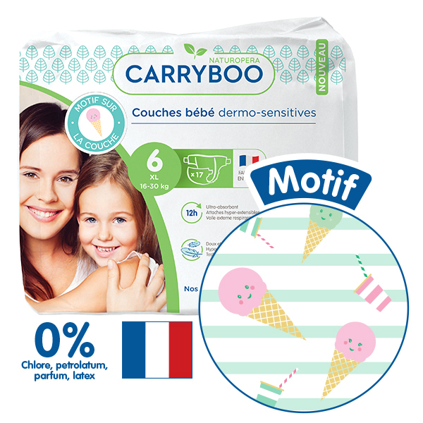 Carryboo - 3x17 Couches T6 (16-30kg) Dermo-Sensitives à Motifs