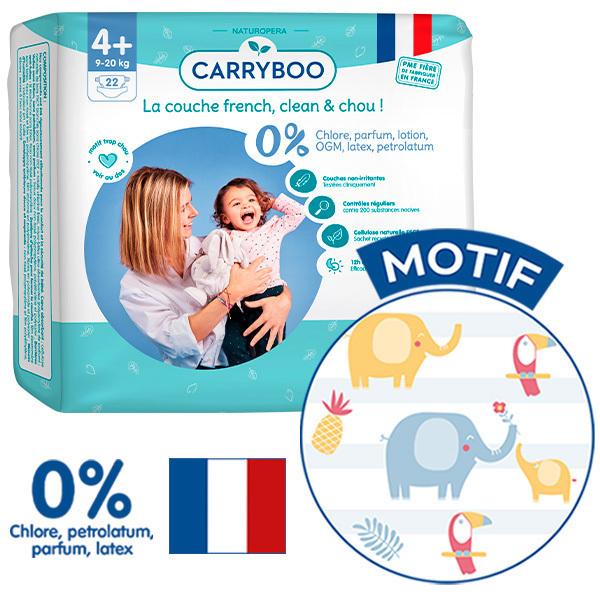 Carryboo - 3x22 Couches T4+ (9-20kg) Dermo-Sensitives à Motifs