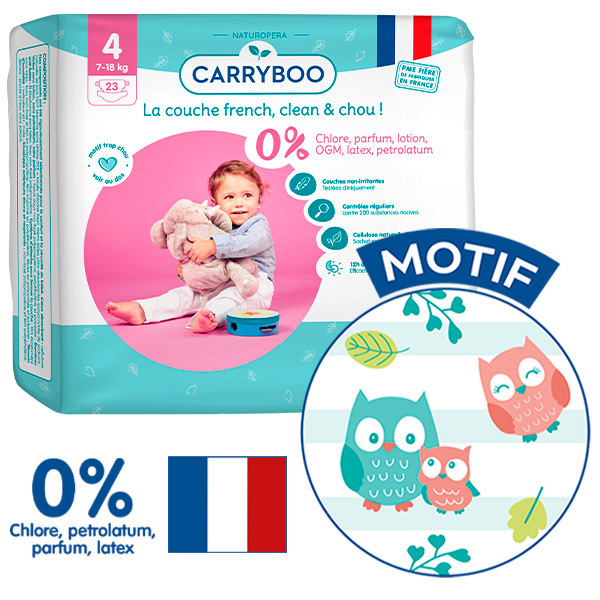 Carryboo - 3x23 Couches T4 (7-18kg) Dermo-Sensitives à Motifs