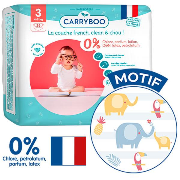 Carryboo - Pack 3x26 Couches T3 (4-9kg) Dermo-Sensitives à Motifs
