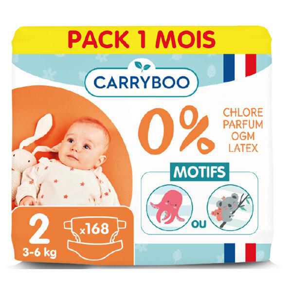 Carryboo - Pack 3x56 Couches T2 (3-6kg) Dermo-Sensitives à Motifs