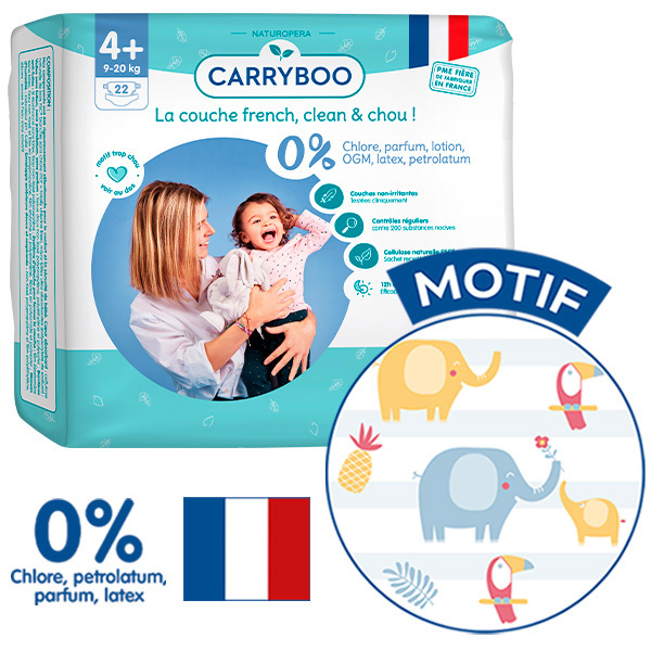 Carryboo - 6x22 Couches T4+ (9-20kg) Dermo-Sensitives à Motifs