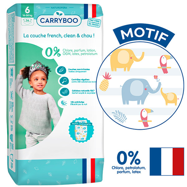 Carryboo - Pack 6x36 Couches T6 (16-30kg) Dermo-Sensitives à Motifs