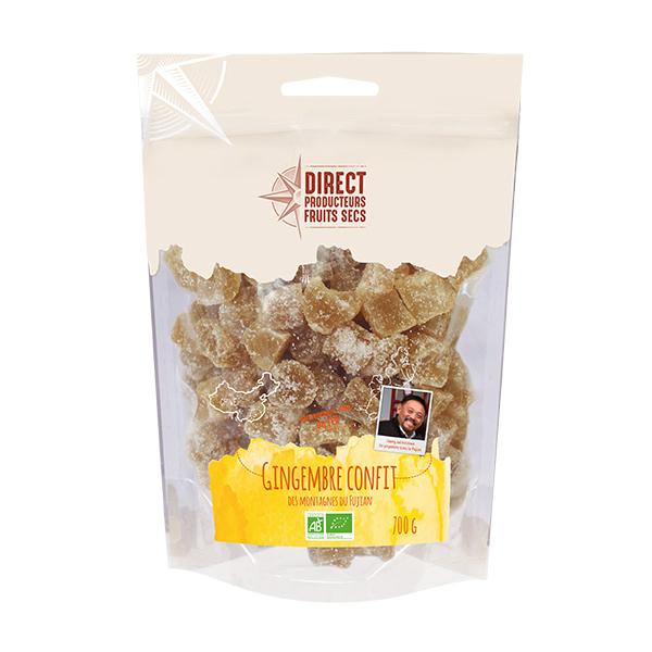 Direct producteurs Fruits secs - Gingembre confit bio - 700 g
