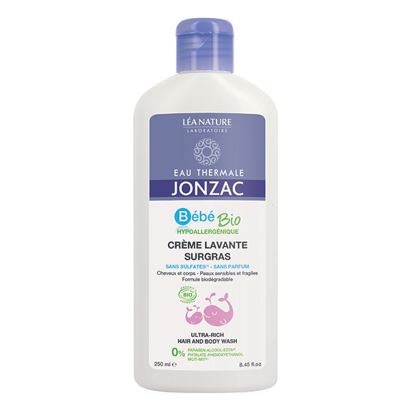 Eau Thermale Jonzac - Crème lavante surgras bébé cheveux et corps 250ml