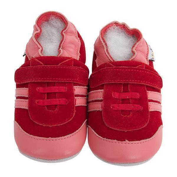 Lait et Miel - Chaussons cuir - Baskets rouges - 3-4 ans