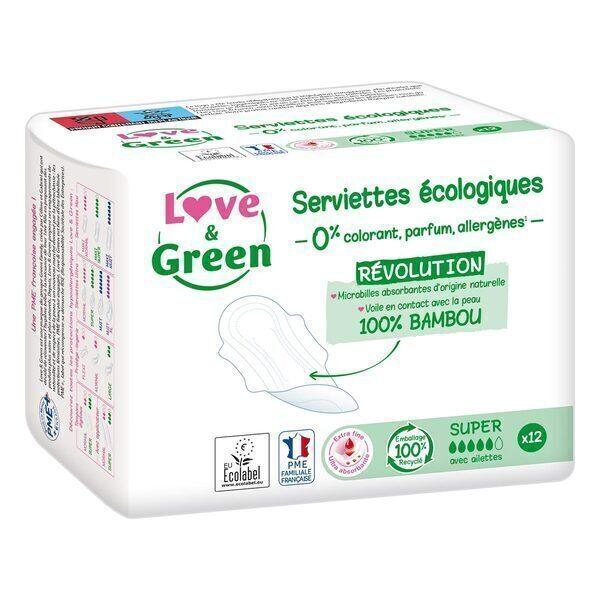 Love & Green - 12 Serviettes super hypoallergéniques 0% ultra, avec ailettes