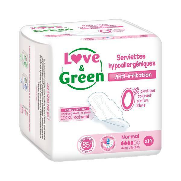 Love & Green - 14 Serviettes normales hypoallergéniques 0%