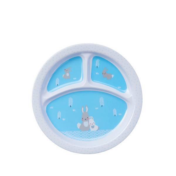 Tex Baby - Assiette à compartiments mélamine - Animo bleu