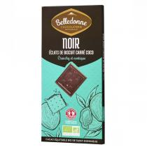 Belledonne - Tablette chocolat noir 57% biscuits Carré coco 100g