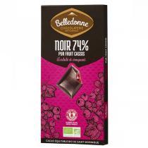 Belledonne - Tablette chocolat noir 74% fourrée cassis 100g