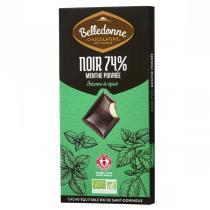 Belledonne - Tablette chocolat noir 74% fourrée menthe poivrée 100g