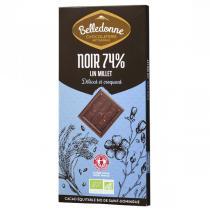 Belledonne - Tablette chocolat noir 57% lin et millet 100g