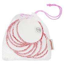 Imsevimse - Lot 10 Disques démaquillants lavables coton bordures roses