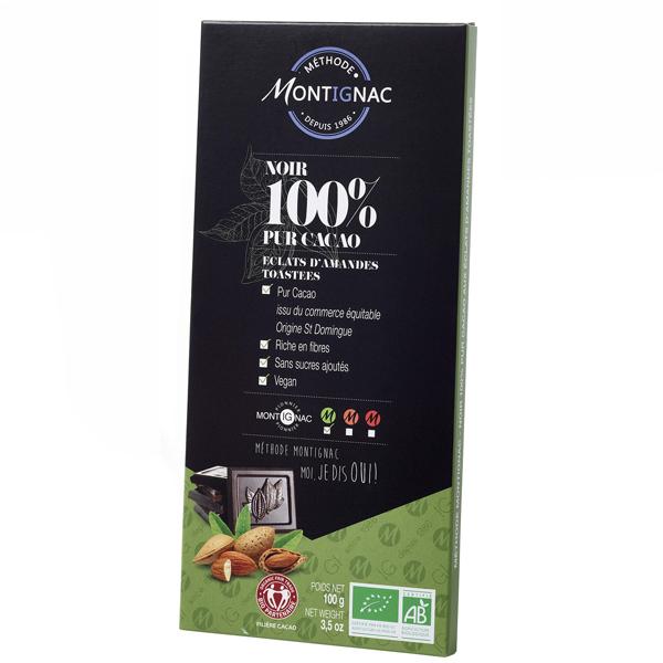 Belledonne - Tablette 100% cacao et amandes Montignac 100g