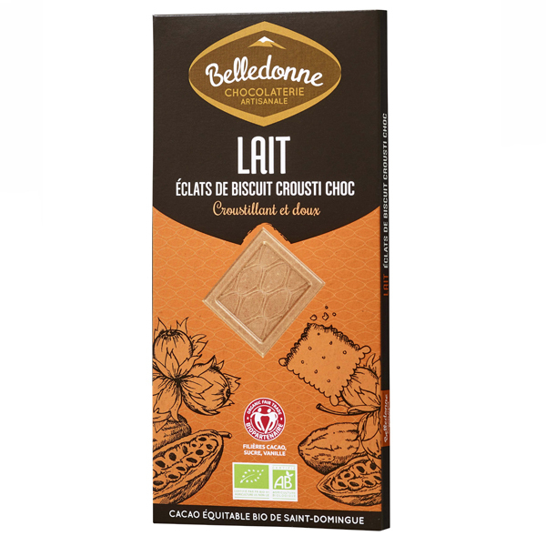 Belledonne - Tablette chocolat lait biscuits Croustichoc 100g