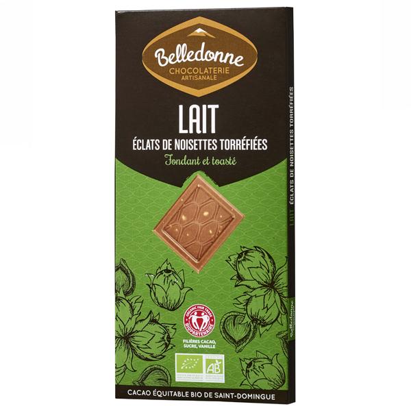 Belledonne - Tablette chocolat lait éclats noisettes 100g