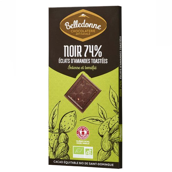 Belledonne - Tablette chocolat noir 74% éclats amandes 100g