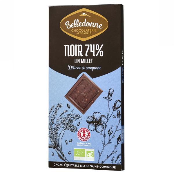 Belledonne - Tablette chocolat noir 74% lin et millet 100g