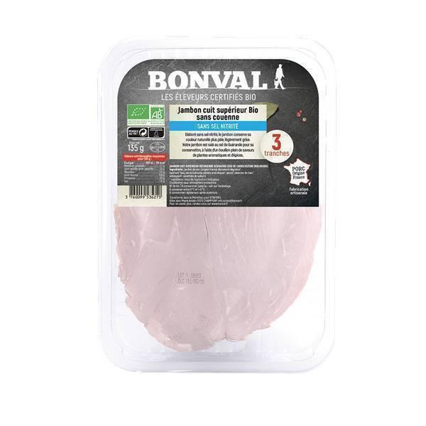 Bonval - Jambon cuit sup découenné sans sel nitrité 3 tranches 135g