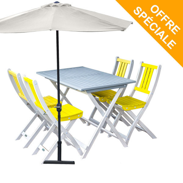 salon de jardin 4 pl burano gris jaune demi parasol. Black Bedroom Furniture Sets. Home Design Ideas