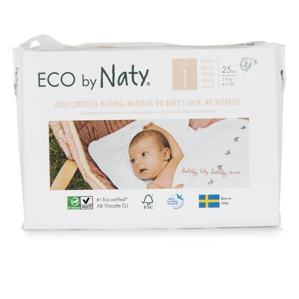Eco by Naty - 25 Couches écologiques - Taille 1, 2-5kg