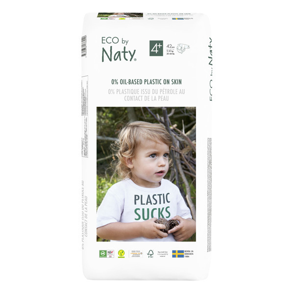 Eco by Naty - Lot 6x24 Couches écologiques - Taille 4+, 9-20kg