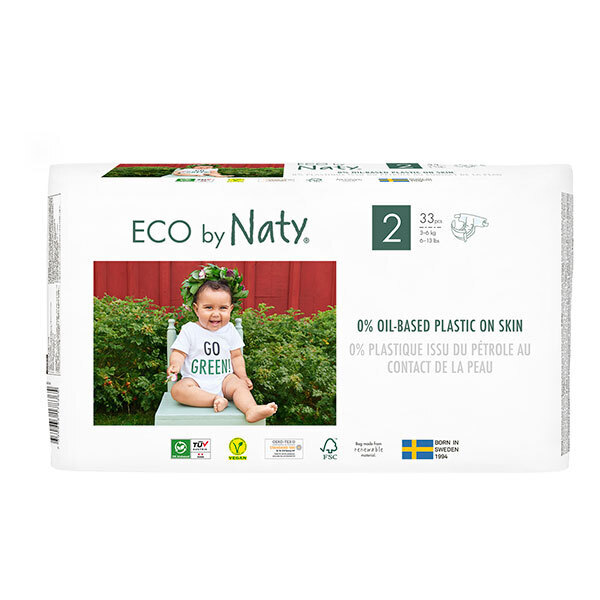 Eco by Naty - Lot 6x33 Couches écologiques - Taille 2, 3-6kg