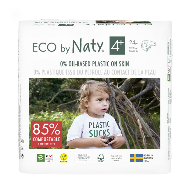 Eco by Naty - Pack 4x24 Couches écologiques - Taille 4+, 9-20kg