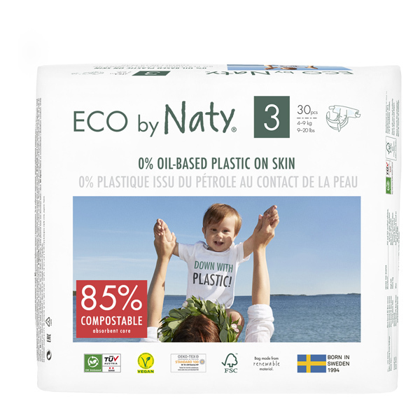 Eco by Naty - Pack 4x30 Couches écologiques - Taille 3, 4-9kg