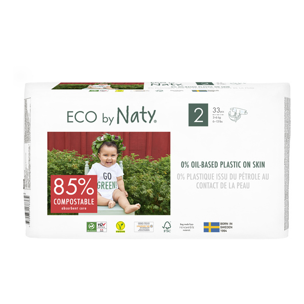Eco by Naty - Pack 4x33 Couches écologiques - Taille 2, 3-6kg