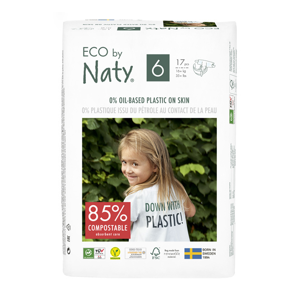 Eco by Naty - Pack 8x17 Couches écologiques - Taille 6, XL 16 kg+