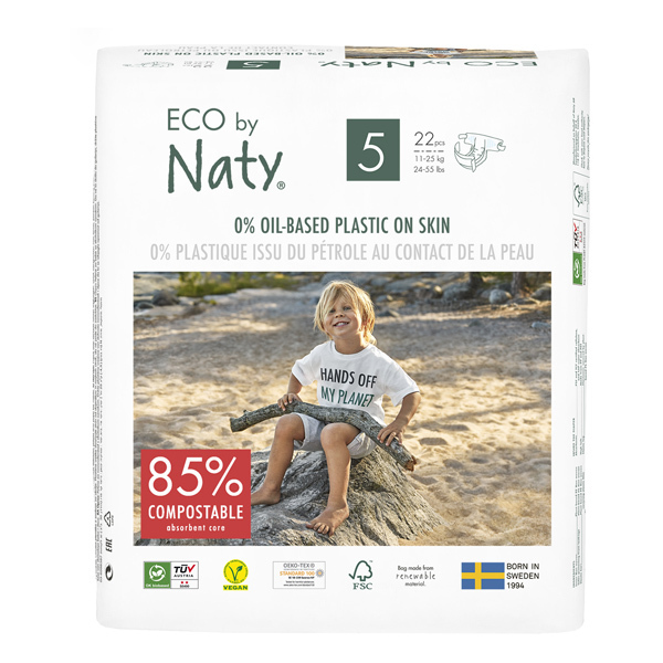 Eco by Naty - Pack 8x22 Couches écologiques - Taille 5, 12-18kg