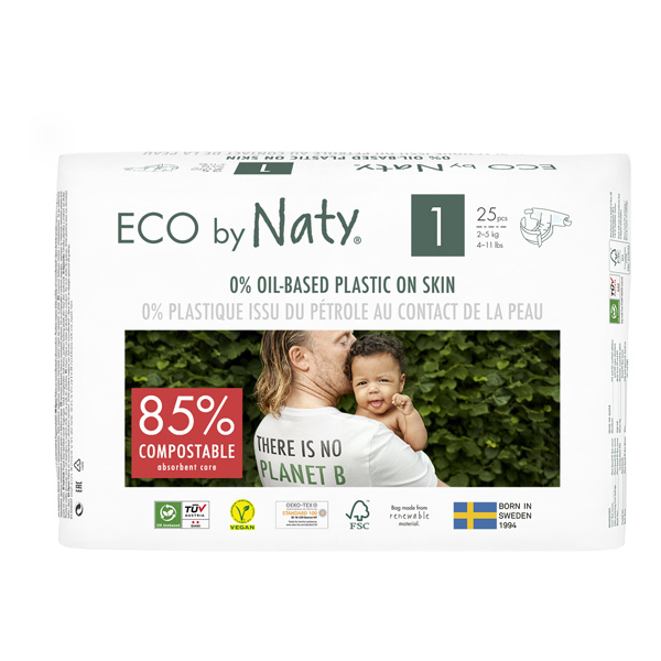 Eco by Naty - Pack 8x25 Couches écologiques - Taille 1, 2-5kg