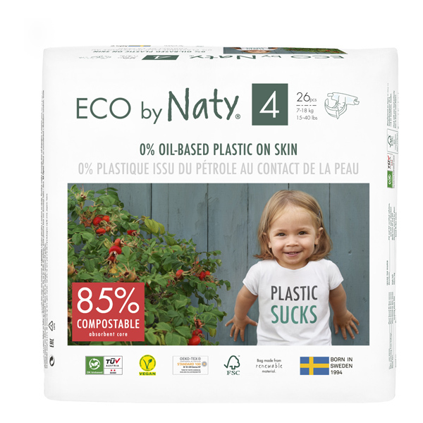 Eco by Naty - Pack 8x26 Couches écologiques - Taille 4, 7-18kg
