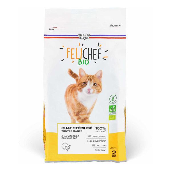 Felichef - Lot de 2 x Croquettes bio sans céréales chat stérilisé 2kg