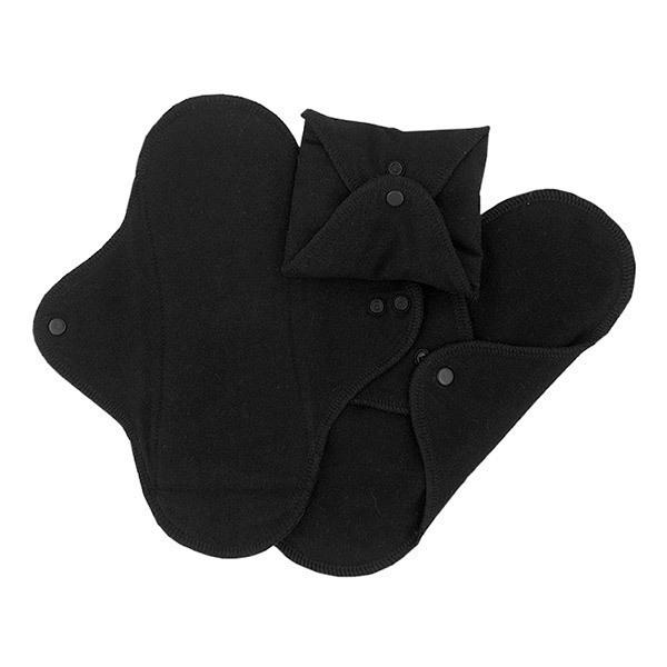 Imsevimse - Lot 3 Serviettes hygiéniques jour lavables noires