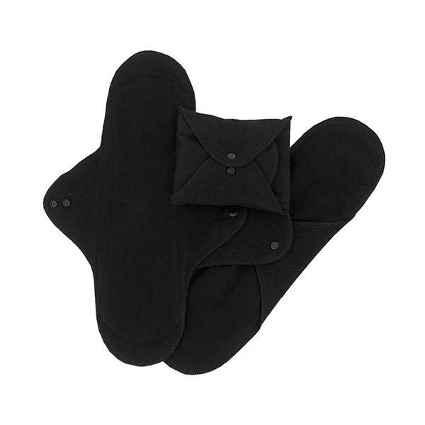 Imsevimse - Lot 3 Serviettes hygiéniques nuit lavables noires